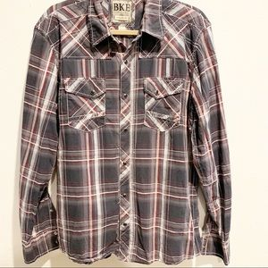 BKE Gray Plaid Western Style Shirt Snap Front Sz L